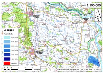 Deichbruch-Szenario L3 - Deich bei Osterholz - Ausbreitung nach 3 Stunden