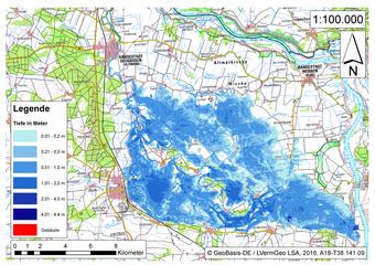 Deichbruch-Szenario L3 - Deich bei Osterholz - Ausbreitung nach 72 Stunden