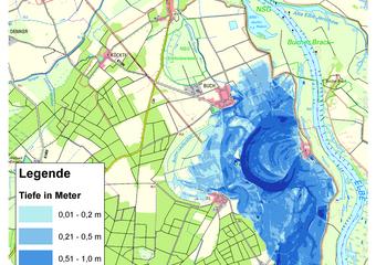 Deichbruch-Szenario L1 Bucher Deich - Ausbreitung nach 12 Stunden