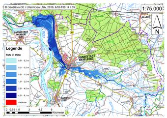 Deichbruch-Szenario R5 Deich bei Havelberg - Ausbreitung nach 12 Stunden