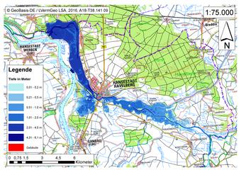 Deichbruch-Szenario R5 Deich bei Havelberg - Ausbreitung nach 24 Stunden
