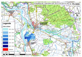 Deichbruch-Szenario R4 Deich nördlich von Sandau - Ausbreitung nach 3 Stunden