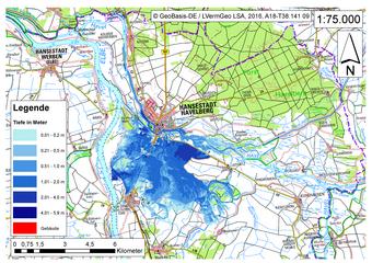 Deichbruch-Szenario R4 Deich nördlich von Sandau - Ausbreitung nach 24 Stunden