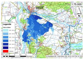 Deichbruch-Szenario R3 Deich südlich von Sandau - Ausbreitung nach 24 Stunden