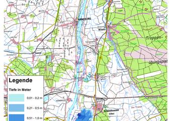 Deichbruch-Szenario R1 Deich bei Schönhausen - Ausbreitung nach 1 Stunde