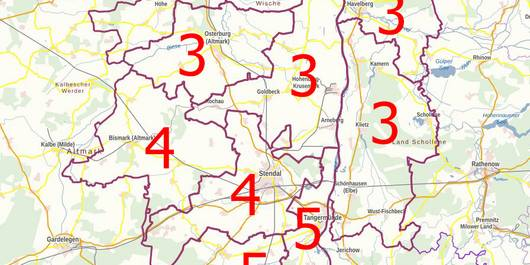 Wahlkreise im Landkreis Stendal zur Landtagswahl Sachsen-Anhalt 2021