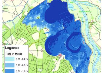 Deichbruch-Szenario L1 Bucher Deich - Ausbreitung nach 48 Stunden