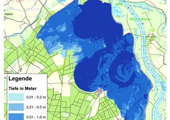 Deichbruch-Szenario L1 Bucher Deich - Ausbreitung nach 72 Stunden