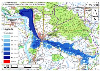 Deichbruch-Szenario R5 Deich bei Havelberg - Ausbreitung nach 48 Stunden