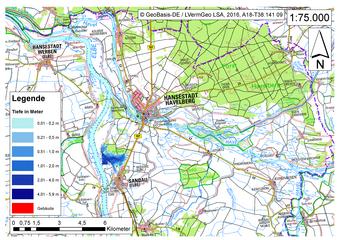 Deichbruch-Szenario R4 Deich nördlich von Sandau - Ausbreitung nach 1 Stunde