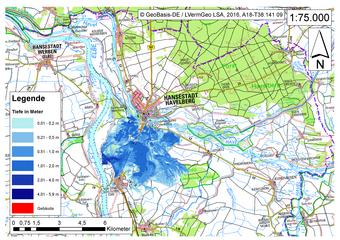 Deichbruch-Szenario R4 Deich nördlich von Sandau - Ausbreitung nach 12 Stunden