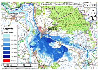 Deichbruch-Szenario R4 Deich nördlich von Sandau - Ausbreitung nach 48 Stunden