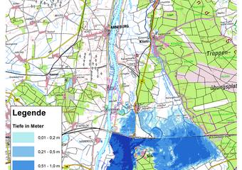 Deichbruch-Szenario R1 Deich bei Schönhausen - Ausbreitung nach 24 Stunden