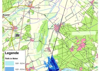 Deichbruch-Szenario T1 Treueldeich - Ausbreitung nach 6 Stunden