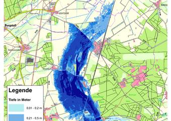 Deichbruch-Szenario T1 Treueldeich - Ausbreitung nach 72 Stunden