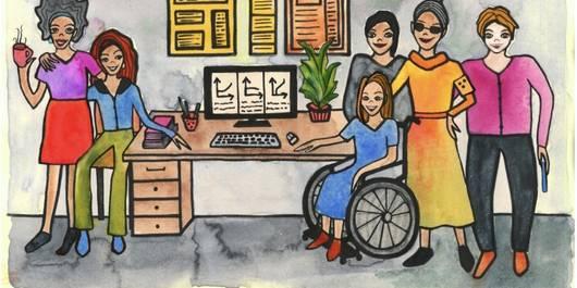 Zeichnung von Personen mit und ohne Behinderung