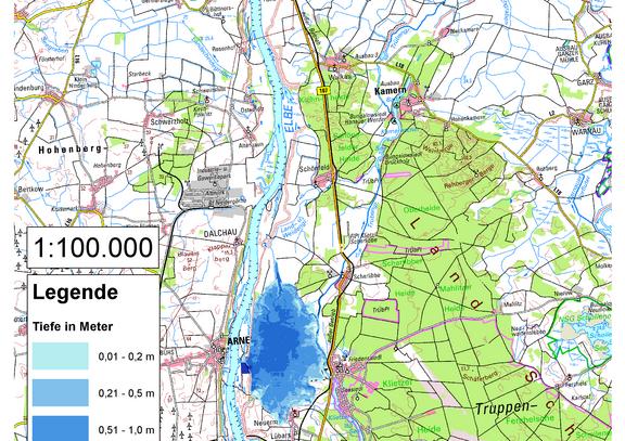 Deichbruch-Szenario R2 Deich bei Klietz - Ausbreitung nach 3 Stunden