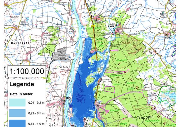 Deichbruch-Szenario R2 Deich bei Klietz - Ausbreitung nach 12 Stunden