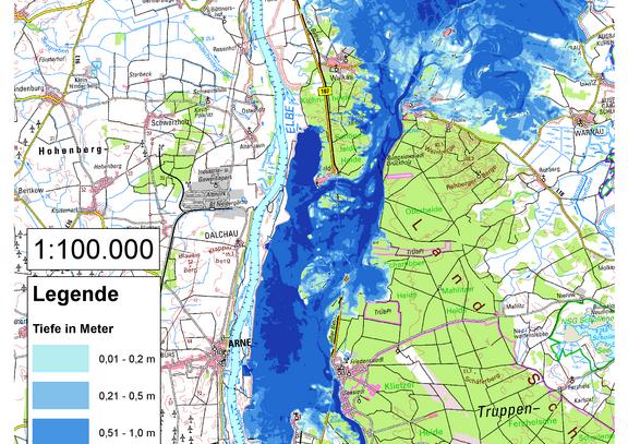 Deichbruch-Szenario R2 Deich bei Klietz - Ausbreitung nach 96 Stunden