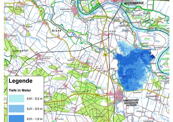 Deichbruch-Szenario L4 Deich bei Unterkamps - Ausbreitung nach 12 Stunden