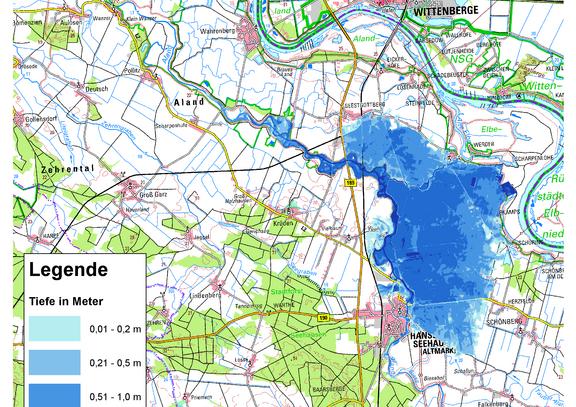 Deichbruch-Szenario L4 Deich bei Unterkamps - Ausbreitung nach 24 Stunden