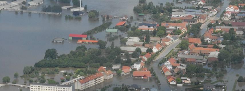 Luftbild vom Hochwasser 2013 in Fischbeck (Elbe) ©Edgar Kraul