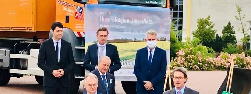 Ministerpräsident Reiner Haseloff, Bundesverkehrsminister Andreas Scheuer und Landrat Michael Ziche